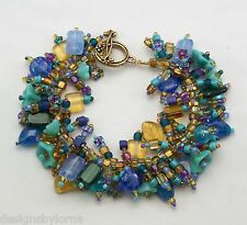 "Bracelet: Bead Kit ""Peacock"" Glass beads in rich colors! Fringe Magic"