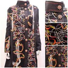 SAMYA PLUS SIZE RUSSIAN PATCHWORK ABSTRACT TWIRL FLORAL COAT MULTI BLACK 24