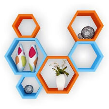 Onlineshoppee Fancy 6 Pcs Hexagonal Wooden Wall Shelf Big Color-Orange/Skyblue