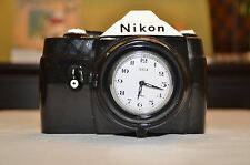 Nikon Ceramic Vintage Camera Alarm Clock - Vandor Telock -1983 - 35mm - Works!