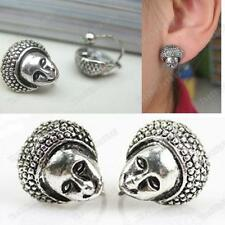 U CLIP ON non-pierced AFRICAN DOLL HEAD face RETRO EARRINGS vintage silver pltd