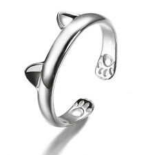 Silver Plated Kitten Cat Animal Finger Rings Women Open Adjustable Jewelry