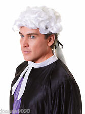 New Adult Mens Ladies Judge Barrister Lawyer Court Fancy Dress Costume White Wig