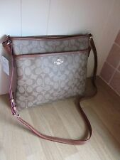 COACH SIGNATURE FILE KHAKI/SADDLE CROSSBODY BAG ~ NEW ~ FREE P&P
