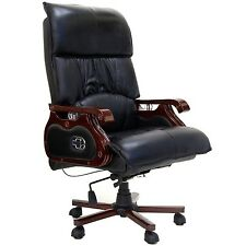 Office Chair Massage Manager Swivel Real Leather Black Function