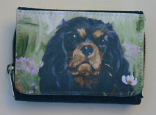 CAVALIER KING CHARLES SPANIEL black tan DENIM BLUE PURSE WALLET SANDRA COEN