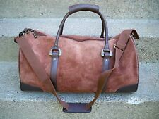 Vtg Brown Suede Leather Travel Duffle Luggage Gym Carry On Overnight Bag Pack
