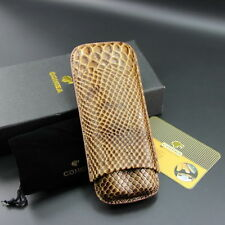 Cohiba Rattlesnake Embossed Leather 2 Tube Cigar Case Travel Humidor