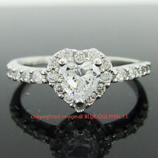 Real Genuine Solid 9k White Gold Heart Engagement Wedding Ring Simulated Diamond