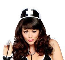 Black Nurse Hat with Cross Ruffle Trim Headband Head Piece Costume Roma H113