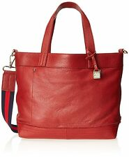 Tommy Hilfiger Signature Convertible Pebble Leather Tote Bag Purse Red $188