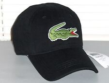 LACOSTE Men's Large Croc Cap, Sport Baseball Hat, Cotton Gabardine, BLACK, nwt