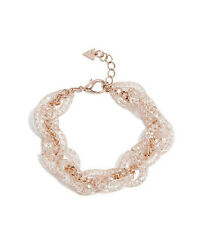 NWT GUESS Patricia Rose Gold Chain Mesh link Sparkle Bracelet