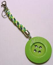 """7"""" Kumihimo bag-charm 50mm Green Button"""