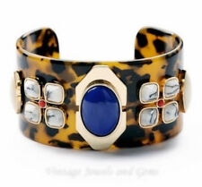 EGYPTIAN REVIVAL FAUX TORTOISE SHELL & CRYSTAL RHINESTONE Cuff Bangle Bracelet