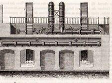 GRAVURE 1890 ENGRAVING ST MAUR ELEVATION DE LA MACHINE HYDRAULIQUE INDUSTRIE