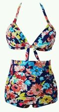 New plus size navy floral high waisted Swimsuit sizes Available 16-18-20