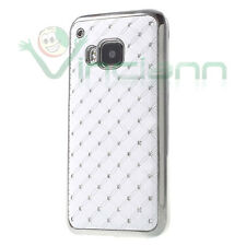 Custodia BRILLANTINI per  HTC One M9 cover BIANCA diamond case rigida nuova