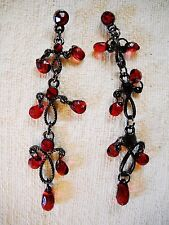 VINTAGE DARK RED CRYSTAL & FAUX CRYSTAL BEAD CHANDELIER POST EARRINGS