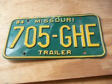 705 GHE 1994 Trailer Missouri Green & Yellow License Plate only one