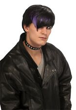 Mens Goth Rocker Wig Short Hair V Bangs Punk Emo Black Streaked Purple Adult