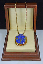 "SOLID YELLOW GOLD & LAPIS LAZULI SCARAB PENDANT & 18 ""ROPE CHAIN"