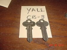 "2 VINTAGE KEY BLANKS Original YALE  "" CB-3 "" keyway LOCKSMITH NOS Uncut antique"