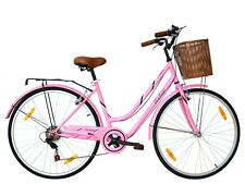 TIGER 'VINTAGE' LADIES 7 SPEED LOW STEP-THROUGH HYBRID BIKE PINK