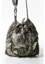 LUNA LLENA Taupe Beaded Sequin Embellished Canvas Crossbody Bag