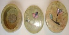 "New Vintage India 3"" Hand Made Soapstone Trinket/Jewelry Boxes with MOP Flowers"