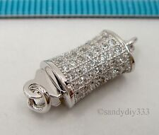 1x  Rhodium plated STERLING SILVER CZ CRYSTAL 1-strand BOX CLASP #2374