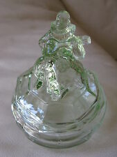 Antique Green Depression Glass Musician Mistrel Jester Vanity Powder Box Jar