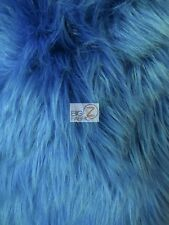 SOLID SHAGGY FAUX FUR LONG PILE FABRIC - Cobalt - BY THE YARD MONGOLIAN COSTUMES
