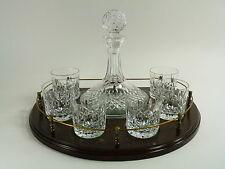 WATERFORD Crystal - LISMORE Cut - Ships Decanter, 6 Tumblers & Tray