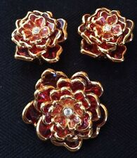 Joan Rivers Layered Flower Brooch & Clip Earring Set Red Glass w/Gold Trim