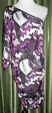 Guess Dolman One Shoulder Dress Purple Black White Side Ruched XL Silky NWT $98