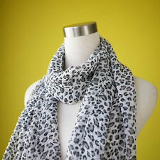 WHITE LEOPARD ANIMAL FASHION SCARF WRAP SHAWL SOFT LONG LIGHTWEIGHT MATERIAL