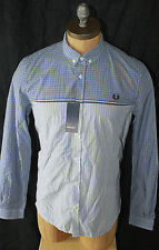AUTH $145 Fred Perry Men Long Sleeve Gingham Shirt L