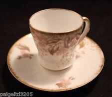Limoges France Porcelain Tea Cup&Saucer w/ Gold Trim  Pink Flowers Pink Blossom