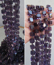 1FT Amethyst Purple glass bead prism chain strand part brass lamp macaroni jewel