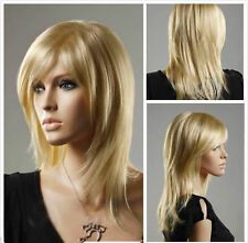 2017 Fashion Women lady Long Straight Blonde Cosplay party lady's wigs + wig cap