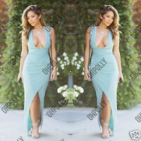 Womens Summer Bodycon Wrap Drape Ladies Maxi Prom Evening Gown Party Long Dress