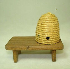 Dollhouse Sir Thomas Thumb Beehive with Bees on Wood Bench 1:12 Scale Miniature