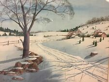 Deco Modern Listed Artist Kenneth Webster Thompson Snowy Landscape Painting