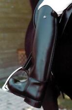 Rhinegold Olympic Long Leather Riding Boots-Size 5-Medium Width-Black-Free P&P