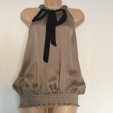 River Island Halterneck Top Taupe Silky Party Top Size UK 12 EU 38
