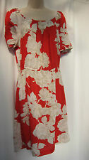 NEXT bright red, white and beige rose light summer dress size 12 BNWT