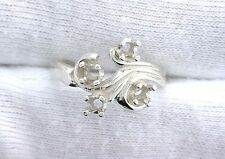 Sterling Silver 4 3mm Stone Mothers Prenotched Fleur Ring Gem Mounting Sz 6.75