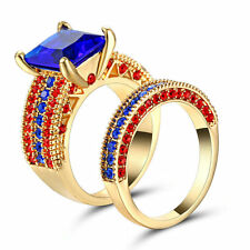 Size 8 Princess Cut Blue Sapphire Y-gold Filled Engagement Ring Wedding Band Set