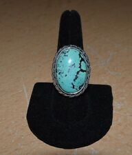 Large Desert Rose Trading Sterling Silver & Turquoise Ring Size 9.5 NICE